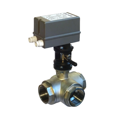 Frontal 3-way diverter valve L bored -  nickel plated