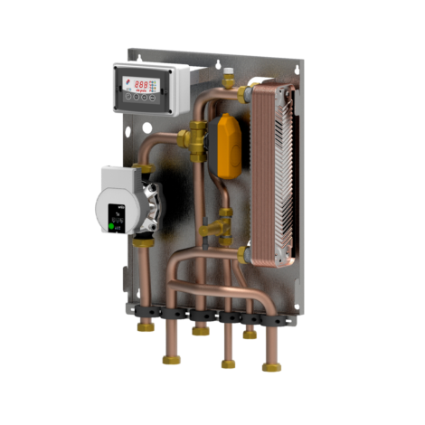 Module BF3 (1 circulator) for heating with biomass generator only and INSTANTANEOUS DHW production