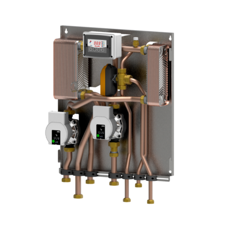 Module BF4 (2 circulators) for biomass - heating system separation and instantaneous DHW production with biomass generators not equipped with exchanger
