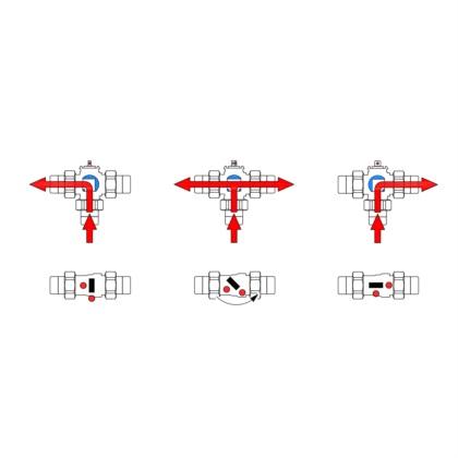 3-way T bored diverter valve